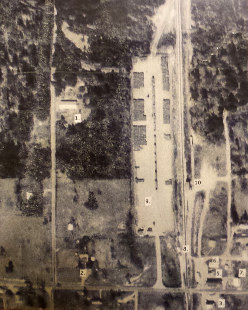 "An aerial from 1960s or 70s, some time after Herbert Irwin relocated to Noble, Louisiana. Provided by ""Smokey"" author Jackie Knott, the photo shows: ; #1 is Smokey's building, #2 is the Mayor Knott and family house, #3 the Noble Mercantile."