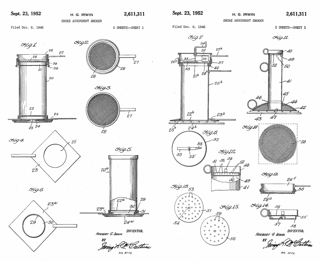 Patented plans for Herbert Irwin's smoke absorbent meat smoker, one of his later in life projects