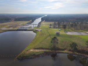 Toledo Bend Power Generation Plant in the middle, and the Sabine River in the background
