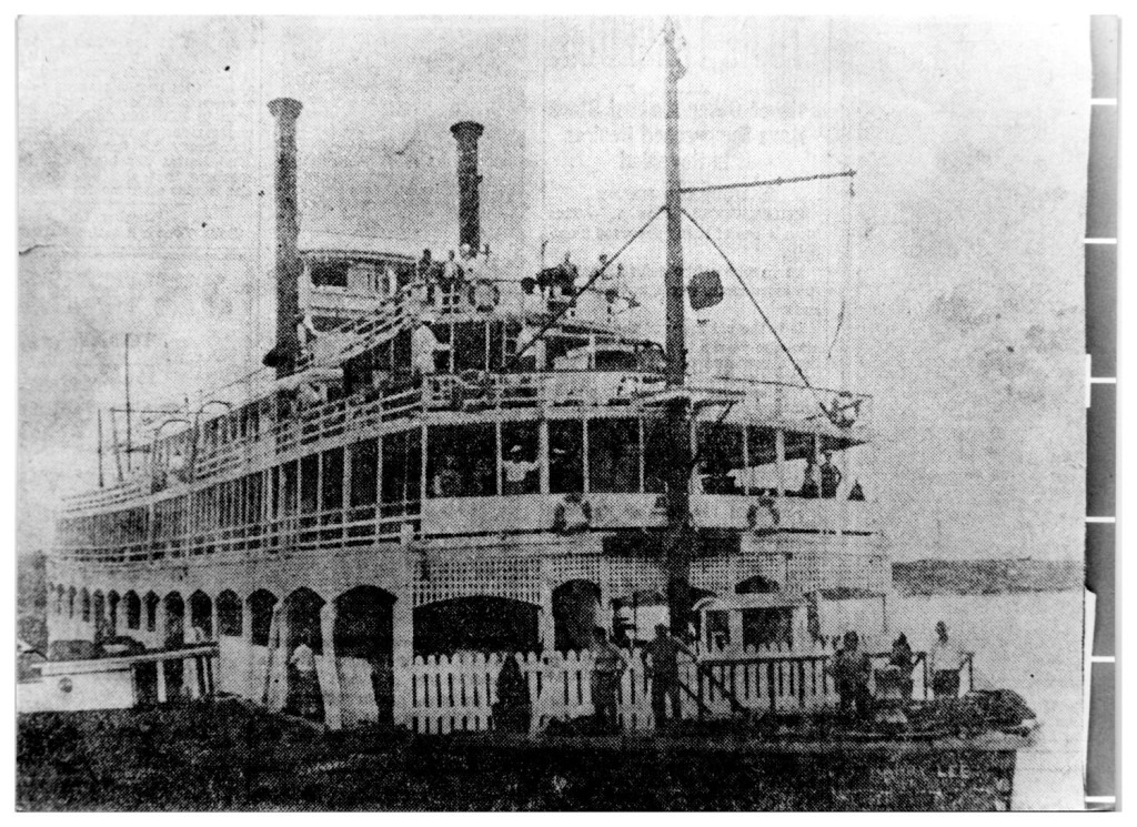 Photograph of the Steamboat Harry Lee - later to be the Showboat - docked across the Sabine River on old Highway 90. Used as a gambling establishment in the late 1920s. Photo from Portal to Texas History, crediting Heritage House Museum, Orange, Texas.
