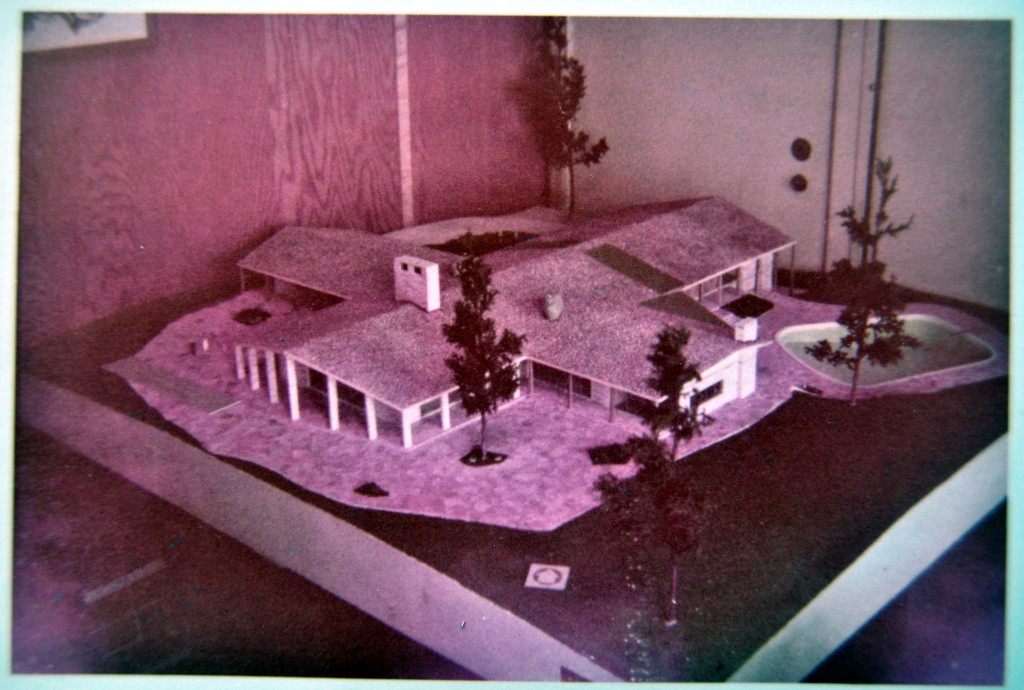 Architectural model of Hodges house. Note: The pool was never built. Photo from the Hodges Foundation.