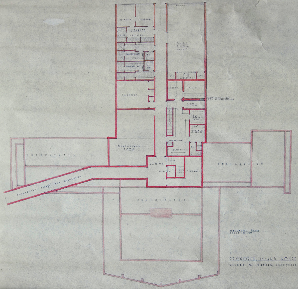 Hodges Residence, downstairs floor plan, Walker & Walker Architects. Note four primary wings with a plan view of the tunnel bending out of the western wing. Photo Credit: Hodges Foundation.