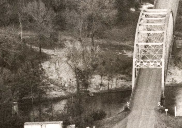 A bluff on the Sabine River north of the old Pendleton Gaines bridge