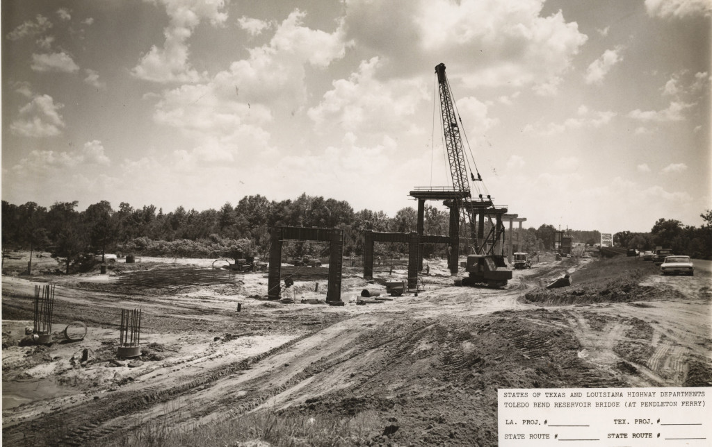Closeup of construction of the new Pendleton Bridge in or about 1966
