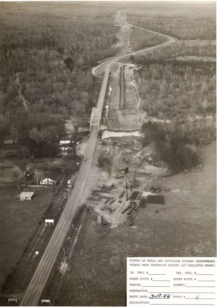 Pendleton Bridge construction, looking east from the Texas side of hte Sabine River