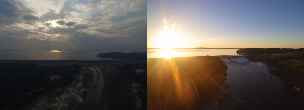 January 2016 and February 2016 below the Toledo Bend Spillway