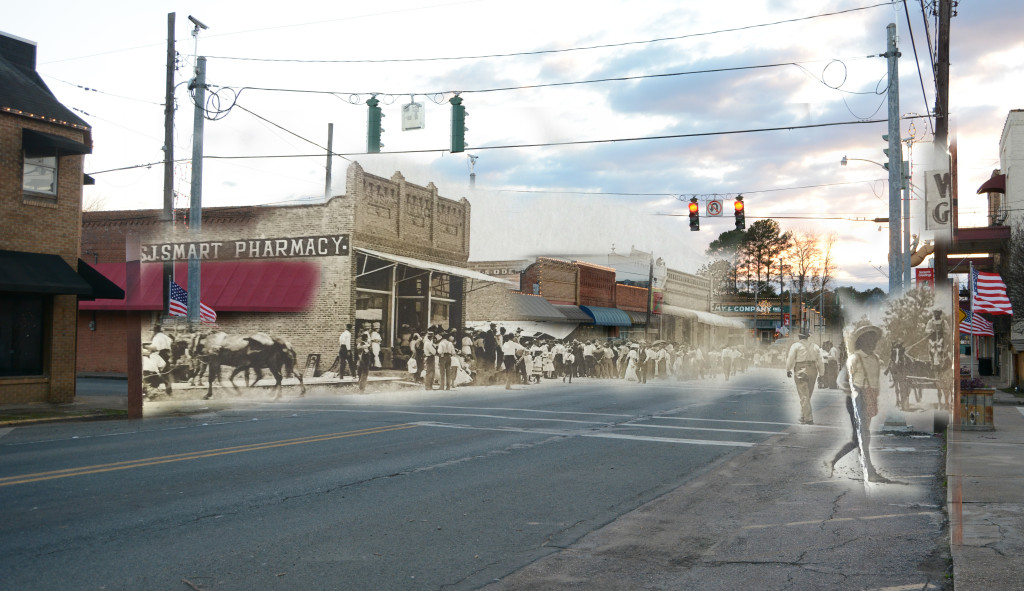 Downtown Logansport, Louisiana in early 1900s and in 2015