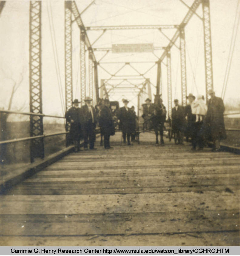 1914- The first crossing on Cane River Bridge.