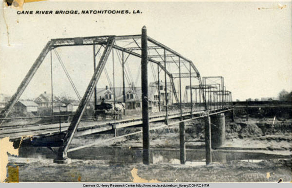 Cane River Bridge with horse and buggy before upper Cane River Dam was built