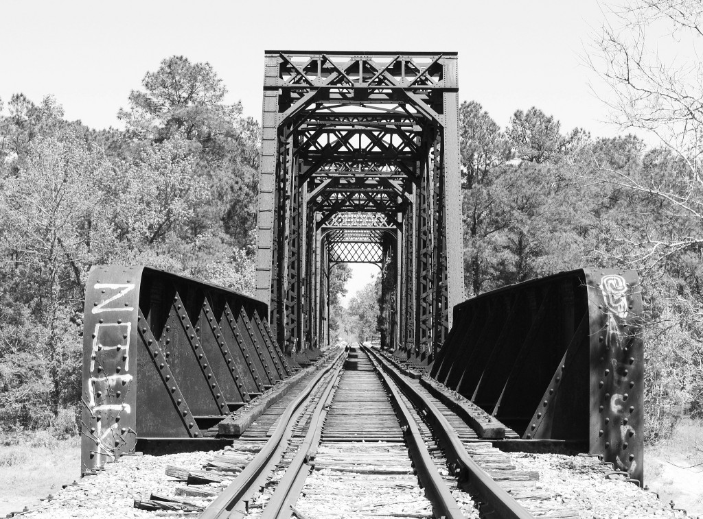 Railroad bridge over Sabine River, built pre-1910.  Photo by Patrick Feller
