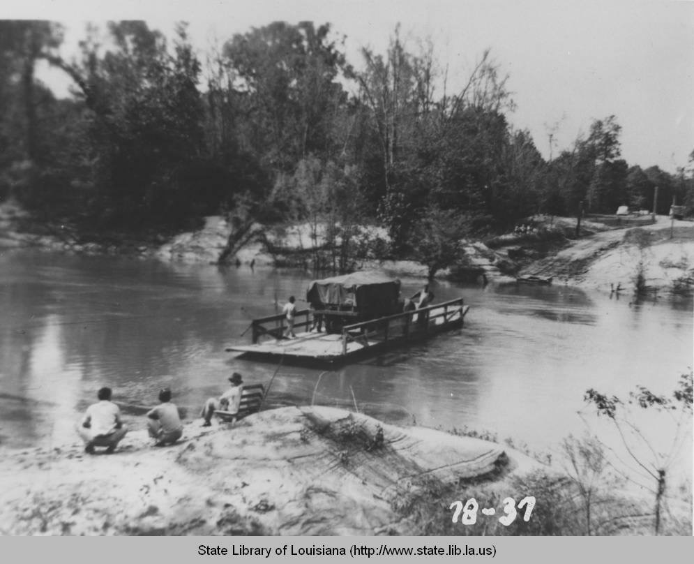 From Louisiana Digital Library, this photo was taken in 1940... A truck is ferries across the Sabine River as part of the Third Army Maneuvers, WWII