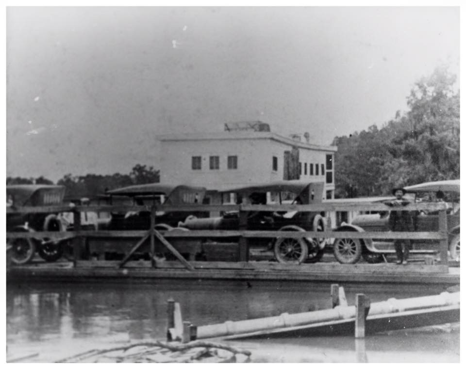 Ferry crossing Sabine at Orange County, Texas.  From Heritage House Museum, through Portal to Texas History