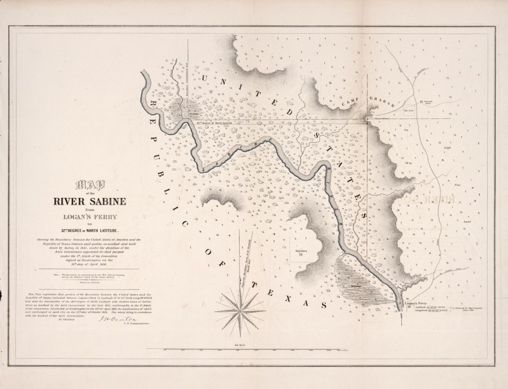 From the Library of Congress, Map of the river Sabine from Logan's Ferry to 32nd degree of north latitude : shewing the boundary between the United States of America and the Republic of Texas between said points, as marked and laid down by survey in 1841, under the direction of the Joint Commission appointed for that purpose under the 1st article of the convention signed at Washington on the 25th day of April 1838