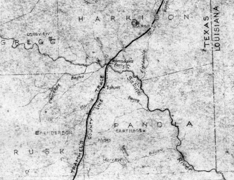 As can be seen in the map above, Trammel's Trace crossed the Sabine at Ramsdale's Ferry, not at Walling's Ferry, and then continued following the modern-day boundary between Rusk and Panola Counties, which caused the path of Trammels Trace to go through Tatum, not what is now Easton.  From nonjohn.com