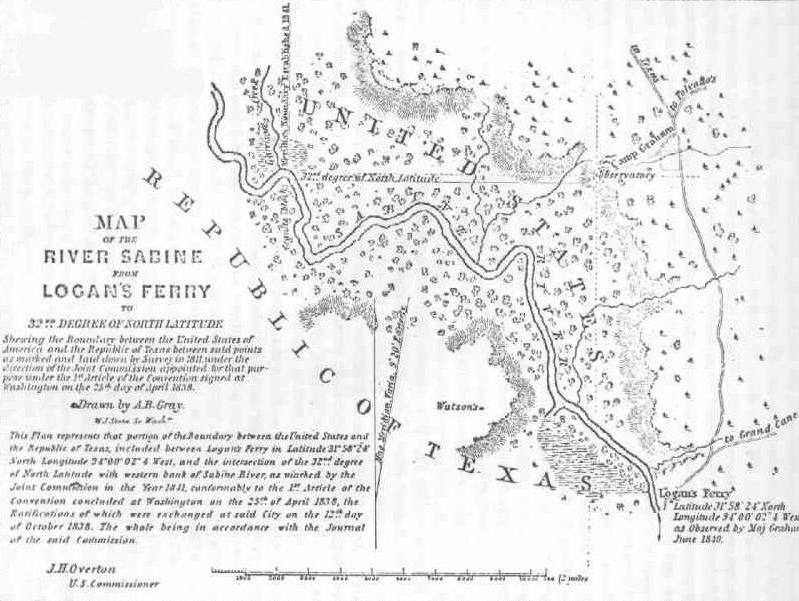 Early Map of the Sabine River from Logans's Ferry to the 32nd Degree of North Latitude.  From Town of Logansport's website.