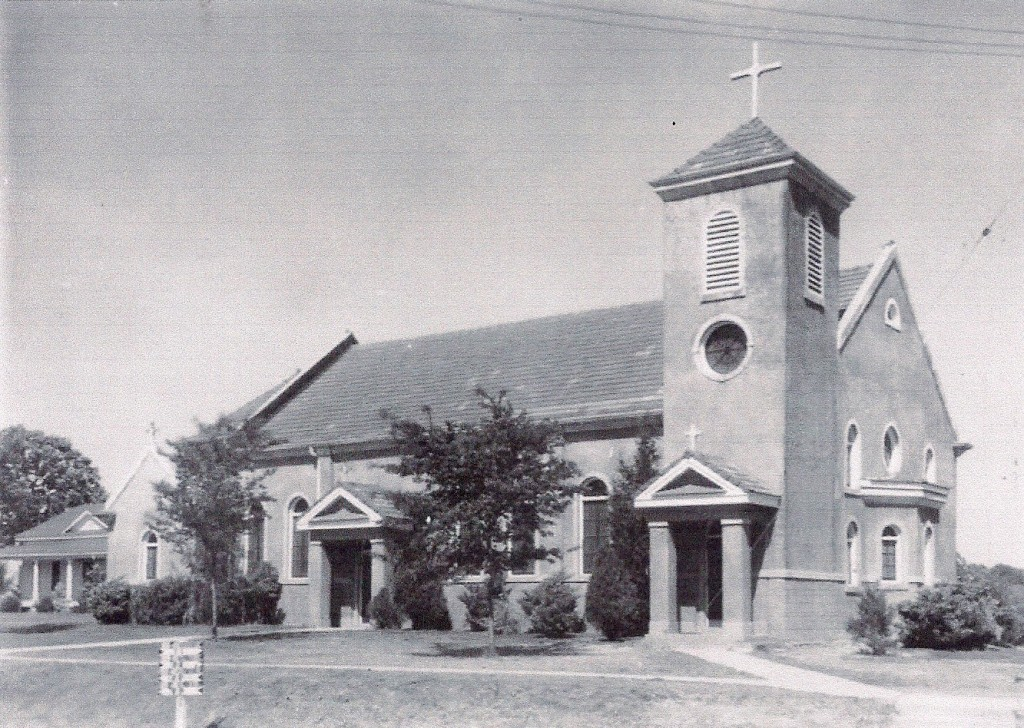 St. John's Catholic Church of Many, La. as it looked during the Louisiana Maneuvers of 1941. (State Library of Louisiana(http://www.state.lib.la.us)