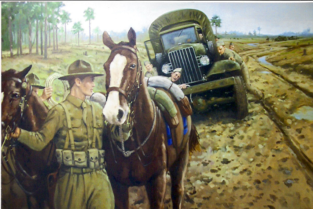 "Painting named ""Muddy Maneuvers"" that is displayed at Fort Polk depicting a cavalry mount pulling a stuck army truck out of the ditch during the maneuvers. (Ft. Polk Cultural Resources)"
