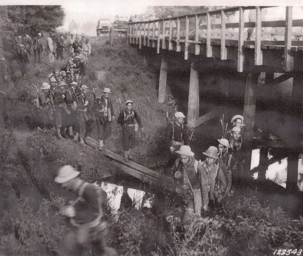 Blue Army troops crossing at the Goodson Creek Bridge on present day La. Hwy. 118 as they advanced toward Mount Carmel. (Robertson Collection)