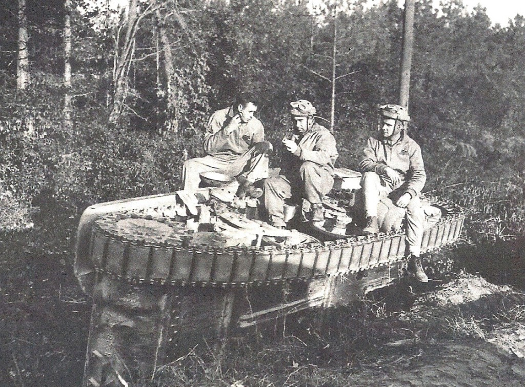 Overturned M3 light tank that overturned after it slid off the muddy roadway. (Robertson Collection)