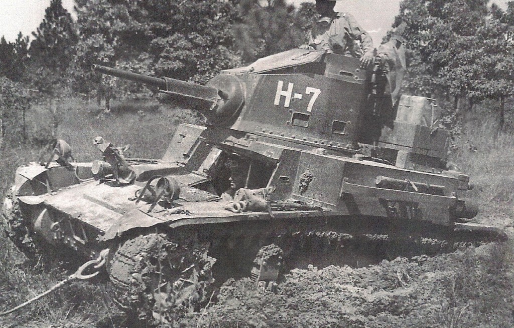 Bogged down M3 light tank of the 68th Armored Regiment during the Louisiana Maneuvers. (Robertson Collection)