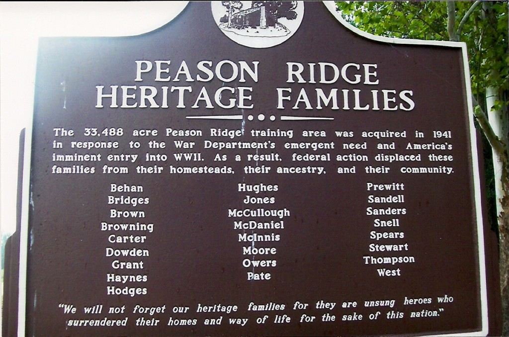 Historical marker to the Heritage Families of Peason Ridge located in the Peason Memorial Park. (Robertson Collection)