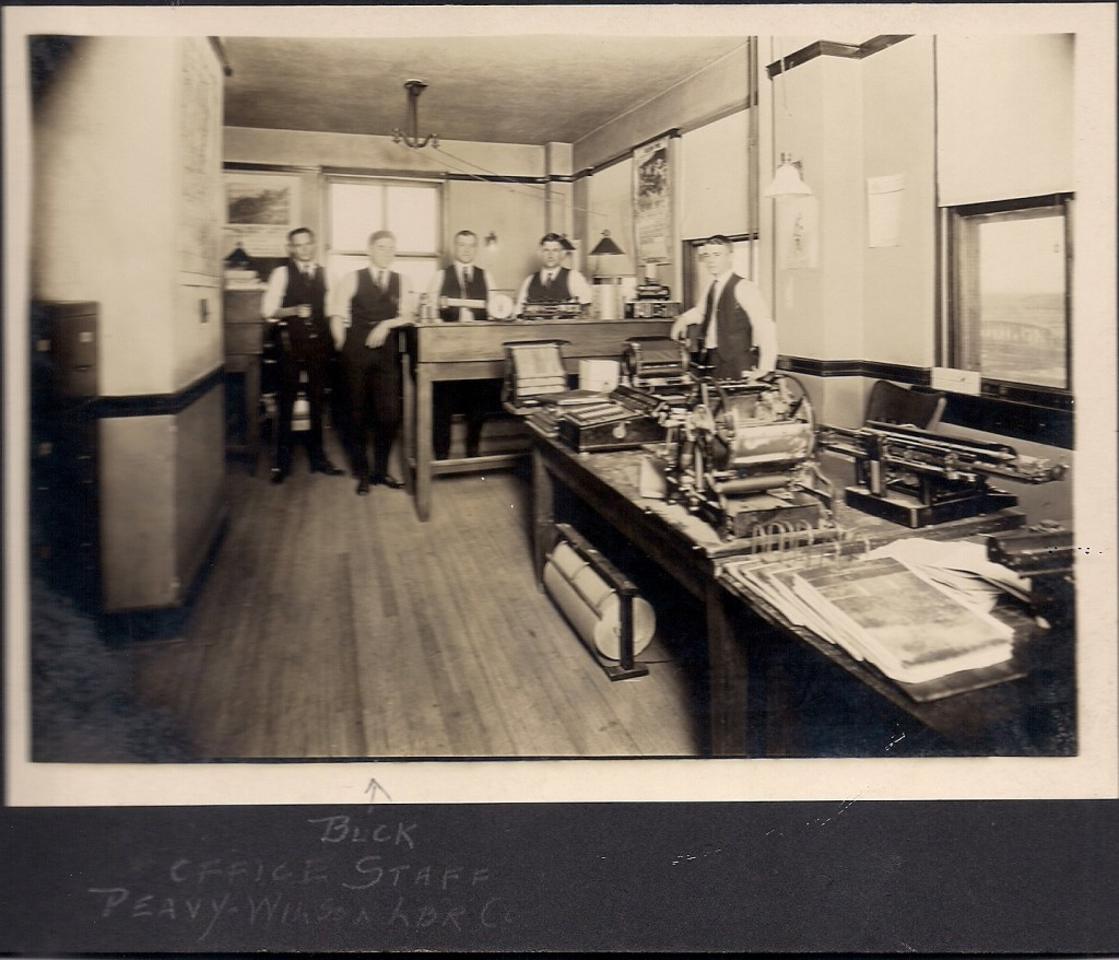 Office staff of Peavy Wilson Lumber Company in Peason, La. (Robertson Collection)