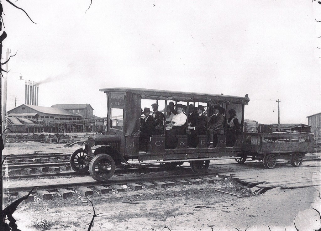 The trolley that ran from Peason to Sandel and back each day carried passengers and cargo. Malley Handley was the operator of the trolley. (HPL Collection)