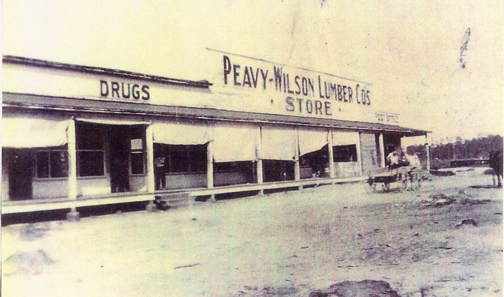 Peavy Wilson Lumber Company Commisary that was located at the Peason Mill. It was operated by the company and was open to everyone. (Robertson Collection)