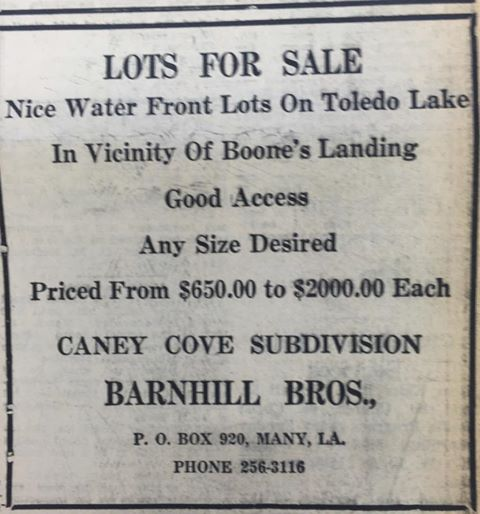 Lots for Sale advertisement in the late 1960s, shortly after Toledo Bend Lake was formed. Lots are near where Pine Flat community once stood